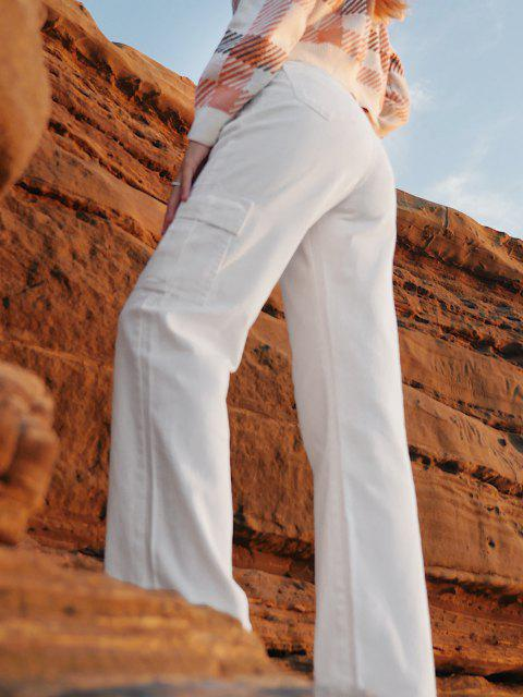 latest Boyish Pockets High Waisted Wide Leg Cargo Jeans - WHITE XL Mobile