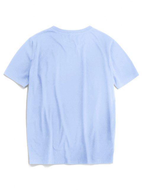 T-Shirt Ricamata a Rosa con Maniche Corte di ZAFUL - Azzurro S Mobile