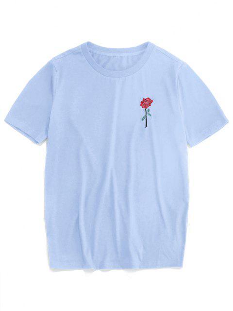 ZAFUL T-shirt de Manga Curta com Bordado de Rosa - Azul claro L Mobile