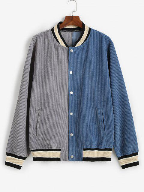 lady Colorblock Corduroy Baseball Jacket - BLUE M Mobile