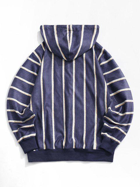 online Striped Print V-neck Hoodie - DEEP BLUE 2XL Mobile