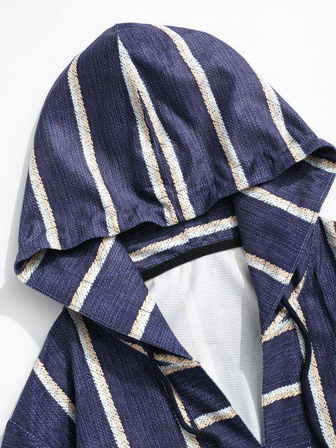 hot Striped Print V-neck Hoodie - DEEP BLUE L Mobile