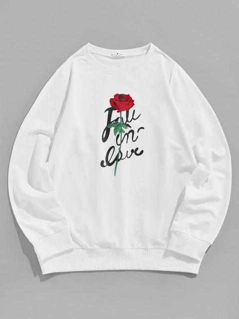 outfits ZAFUL Flower Letter Print Graphic Sweatshirt - WHITE L Mobile