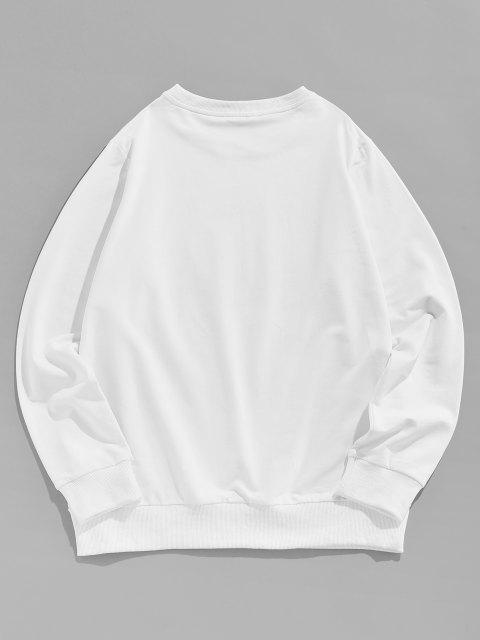 ZAFUL Blumen Buchstabedruck Grafik Sweatshirt - Weiß XL  Mobile
