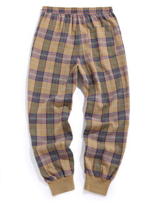 ZAFUL Pantalones Casuales a Cuadros con Cordones y Estampado - Caqui Claro L Mobile