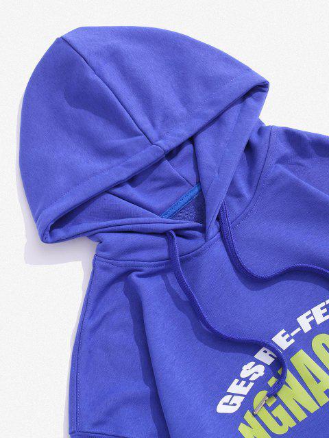 Sudadera con Capucha de Hombro Caído y Estampado de Letras - Azul XS Mobile
