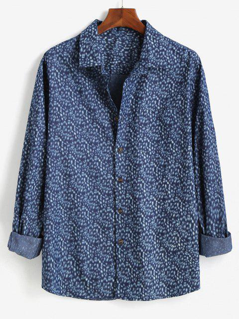 outfits Button Up Pocket Patch Long Sleeve Shirt - BLUE 2XL Mobile