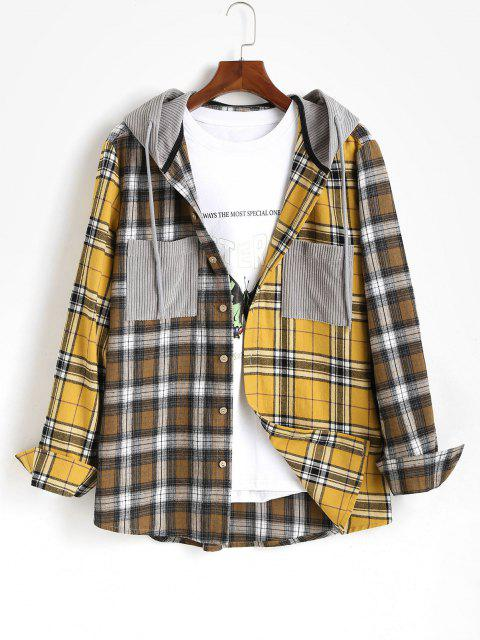 affordable Plaid Long Sleeve Shirt With Corduroy Hood - YELLOW L Mobile