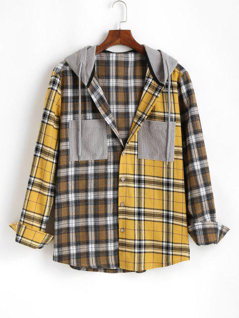 womens Plaid Long Sleeve Shirt With Corduroy Hood - YELLOW 2XL Mobile