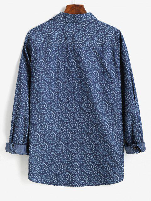lady Button Up Pocket Patch Long Sleeve Shirt - BLUE S Mobile