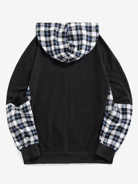 outfit ZAFUL Plaid Letters Print Faux Twinset Hoodie - BLACK L Mobile