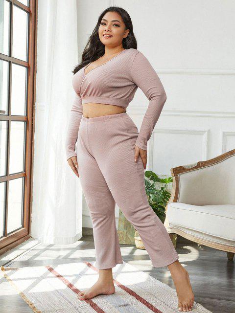 women Plus Size Lounge Rib-knit Wrap Top and Pants Set - LIGHT PURPLE 3XL Mobile