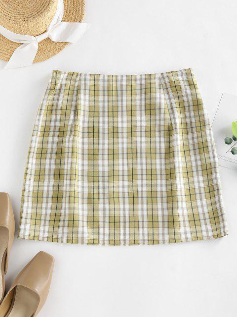 women's ZAFUL Plaid Slit A Line Mini Skirt - LIGHT GREEN S Mobile