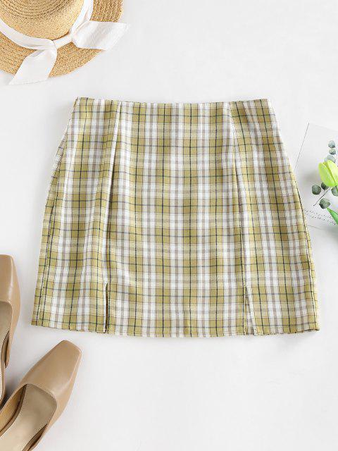shop ZAFUL Plaid Slit A Line Mini Skirt - LIGHT GREEN M Mobile