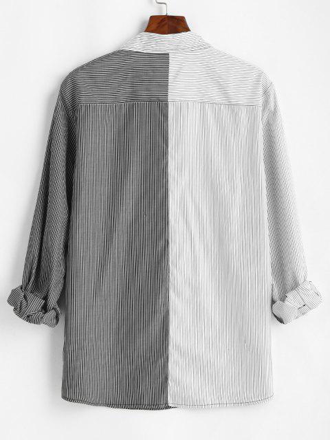 ツートンストライプシャツ - 白 S Mobile