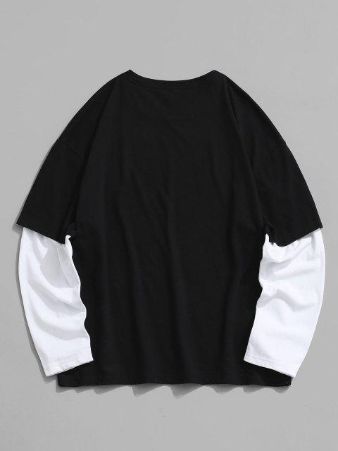 Camiseta de Manga Larga con Estampado de Letras - Negro M Mobile