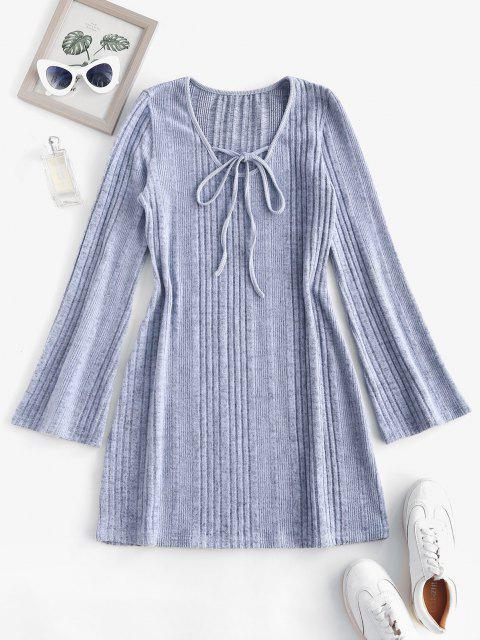 trendy Fuzzy Ribbed Tie Collar Flare Sleeve Dress - LIGHT GRAY L Mobile
