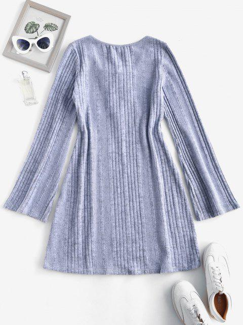 womens Fuzzy Ribbed Tie Collar Flare Sleeve Dress - LIGHT GRAY M Mobile