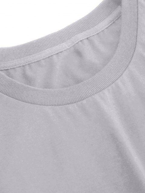 ladies ZAFUL Rose Embroidery Short Sleeve T-shirt - GRAY L Mobile