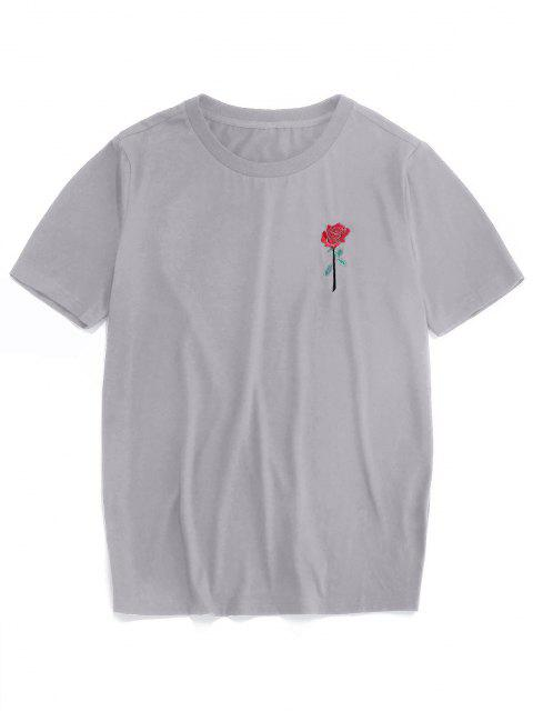 chic ZAFUL Rose Embroidery Short Sleeve T-shirt - GRAY XL Mobile