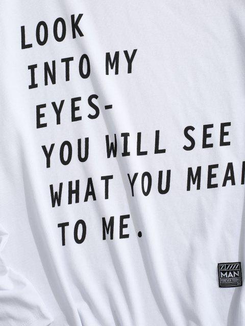 buy Letter Print Applique Detail Slogan T-shirt - WHITE M Mobile