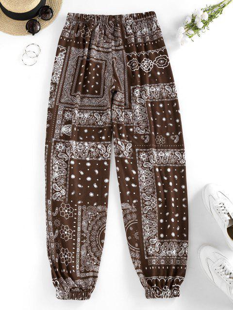 Pantaloni a Vita Alta con Stampa Paisley Tribale di ZAFUL - colore di caffè scuro  S Mobile