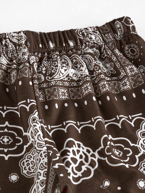 latest ZAFUL Tribal Flower Paisley Print High Waisted Pants - DEEP COFFEE XL Mobile