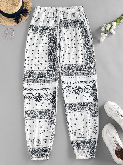 ZAFUL Pantalones de Cintura Alta con Estampado de Flor Tribal - Blanco XL Mobile