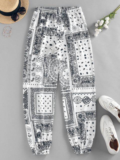 ZAFUL Pantalones de Cintura Alta con Estampado de Flor Tribal - Blanco L Mobile
