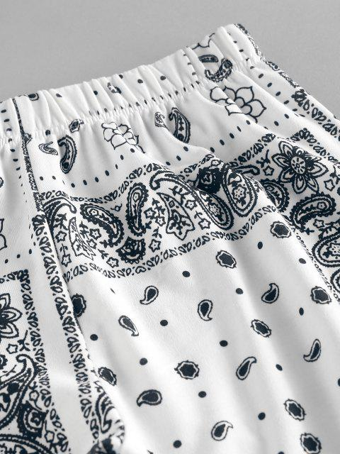 affordable ZAFUL Tribal Flower Paisley Print High Waisted Pants - WHITE S Mobile