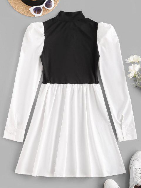 new Mock Neck Puff Sleeve Two Tone Mini Dress - WHITE M Mobile