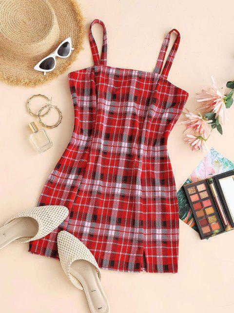 womens ZAFUL Plaid Front Slit Bodycon Mini Dress - RED S Mobile