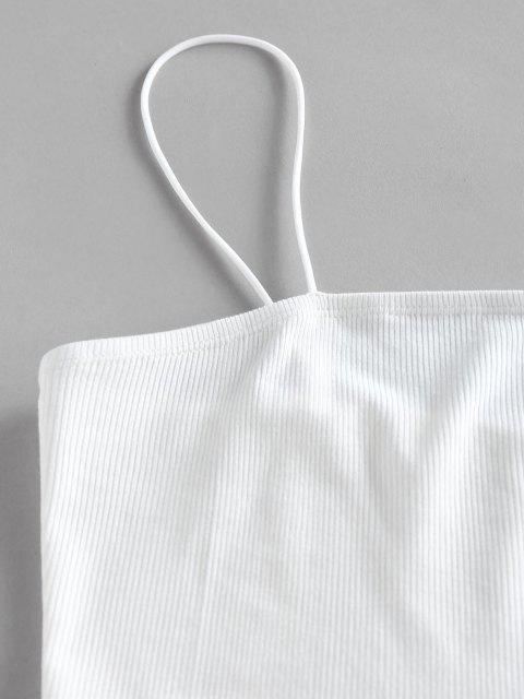 womens ZAFUL Polka Dot Paperbag Waist Ribbed Shorts Set - DEEP BLUE L Mobile