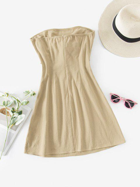 chic ZAFUL Knot Front Cotton Strapless Dress - LIGHT KHAKI L Mobile