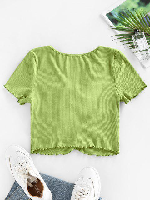 buy ZAFUL Ribbed Ruched Lettuce Trim T Shirt - GREEN S Mobile
