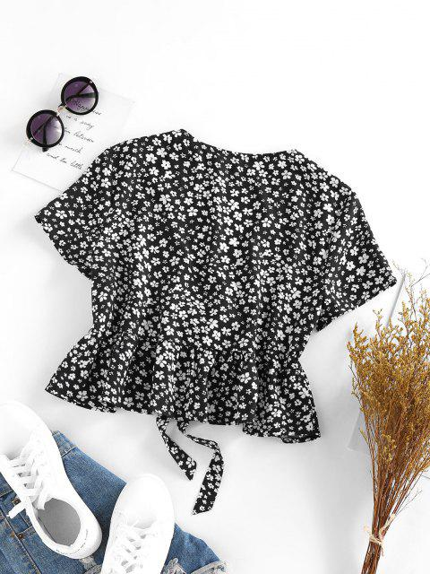 women's ZAFUL Ditsy Floral Plunge Tie Peplum Blouse - BLACK S Mobile
