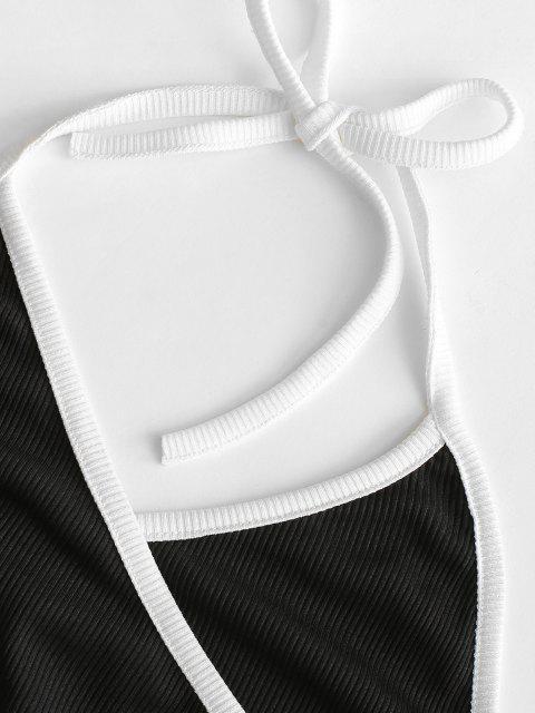 Geripptes Bodycon Rückenfreies Kleid - Schwarz S Mobile