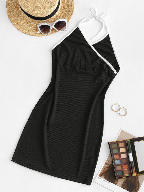 Ribbed Binding Surplice Backless Bodycon Dress - أسود S Mobile