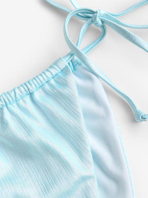 ZAFUL Metallischer Gebundener Seitliche Schnur Bikini Unterteile - Hellblau S Mobile