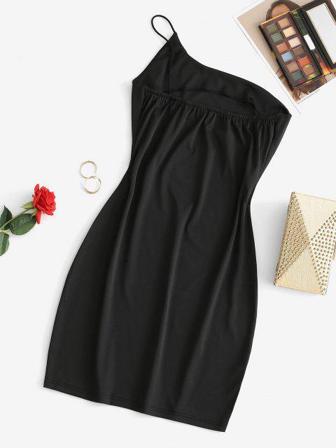 trendy One Shoulder Bodycon Mini Cami Dress - BLACK S Mobile