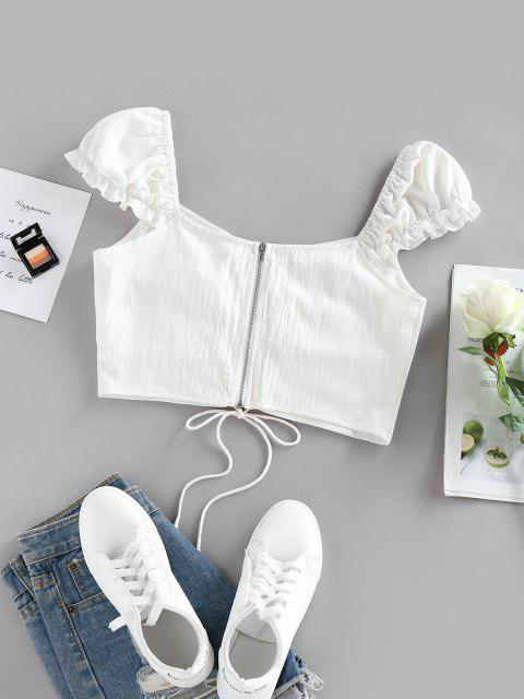 shops ZAFUL Lace-up Zip Puff Sleeve Crop Top - WHITE S Mobile