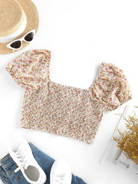 ladies ZAFUL Ditsy Floral Lace-up Smocked Milkmaid Blouse - LIGHT COFFEE L Mobile