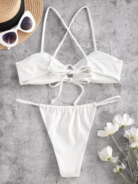 ZAFUL Costume da Bagno Bikini a Costine e Perizoma - Bianca S Mobile