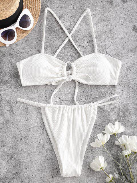 ZAFUL Costume da Bagno Bikini a Costine e Perizoma - Bianca L Mobile