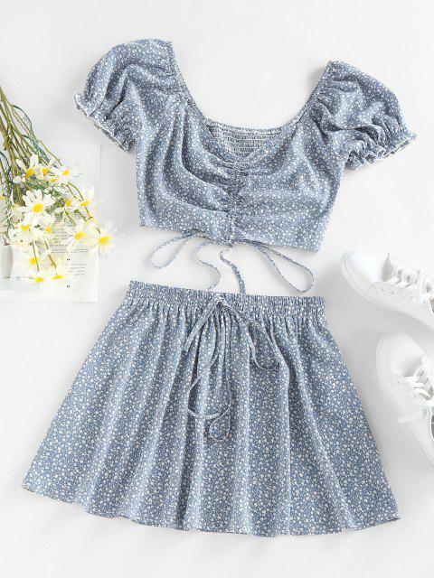 sale ZAFUL Ditsy Print Ruffle Smocked Cinched Skirt Set - LIGHT BLUE L Mobile
