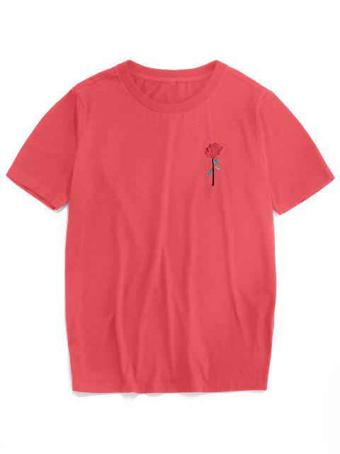 shop ZAFUL Rose Embroidery Short Sleeve T-shirt - LIGHT PINK S Mobile