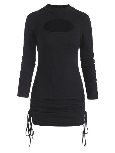 Ribbed Cutout Cinched Gathered Sleeve Bodycon Dress - Black M