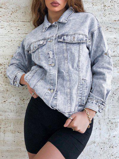 Distressed Frayed Button Up Denim Jacket - Blue S