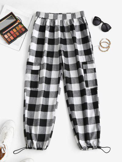 ZAFUL High Waist Plaid Cargo Pants - Black M