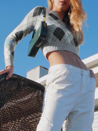 ZAFUL Argyle V Neck Ribbed Trim Jumper Sweater - Multi Xl